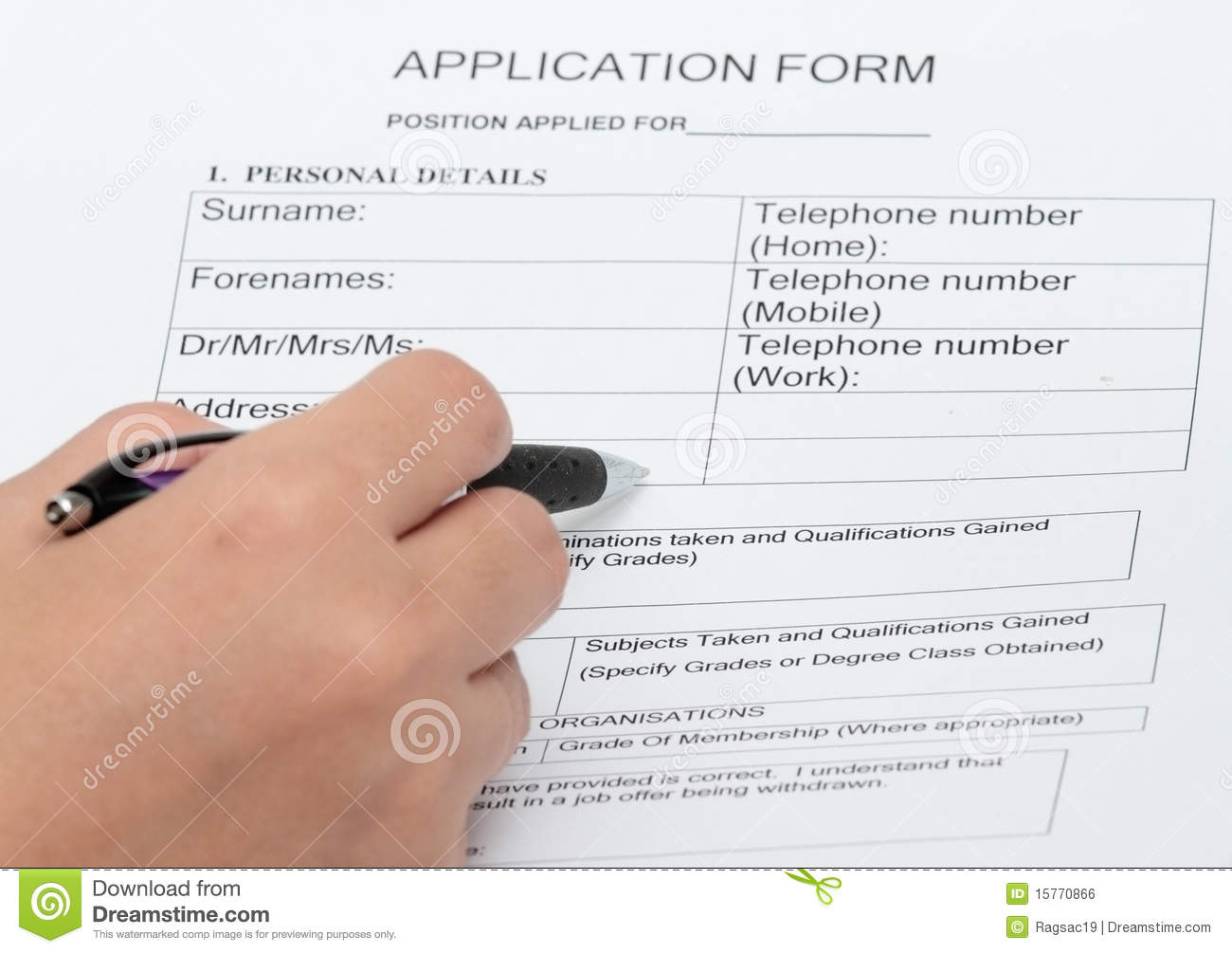 Application And Personal Details Form Royalty Free Stock Image - Image