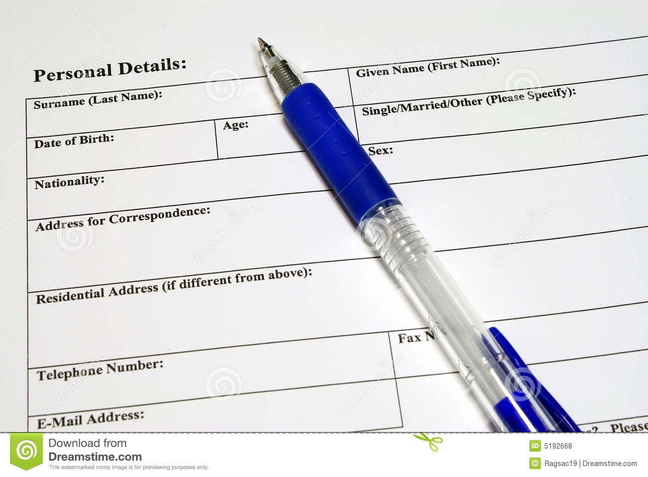 Application And Personal Details Form Royalty Free Stock Photos ...