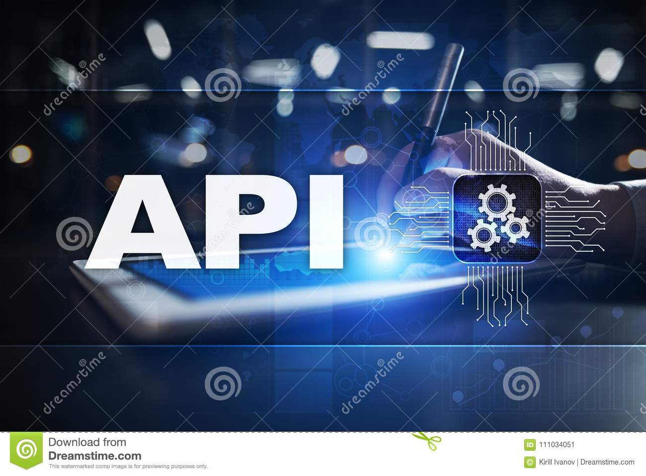 Application programming interface. API. Software development concept.