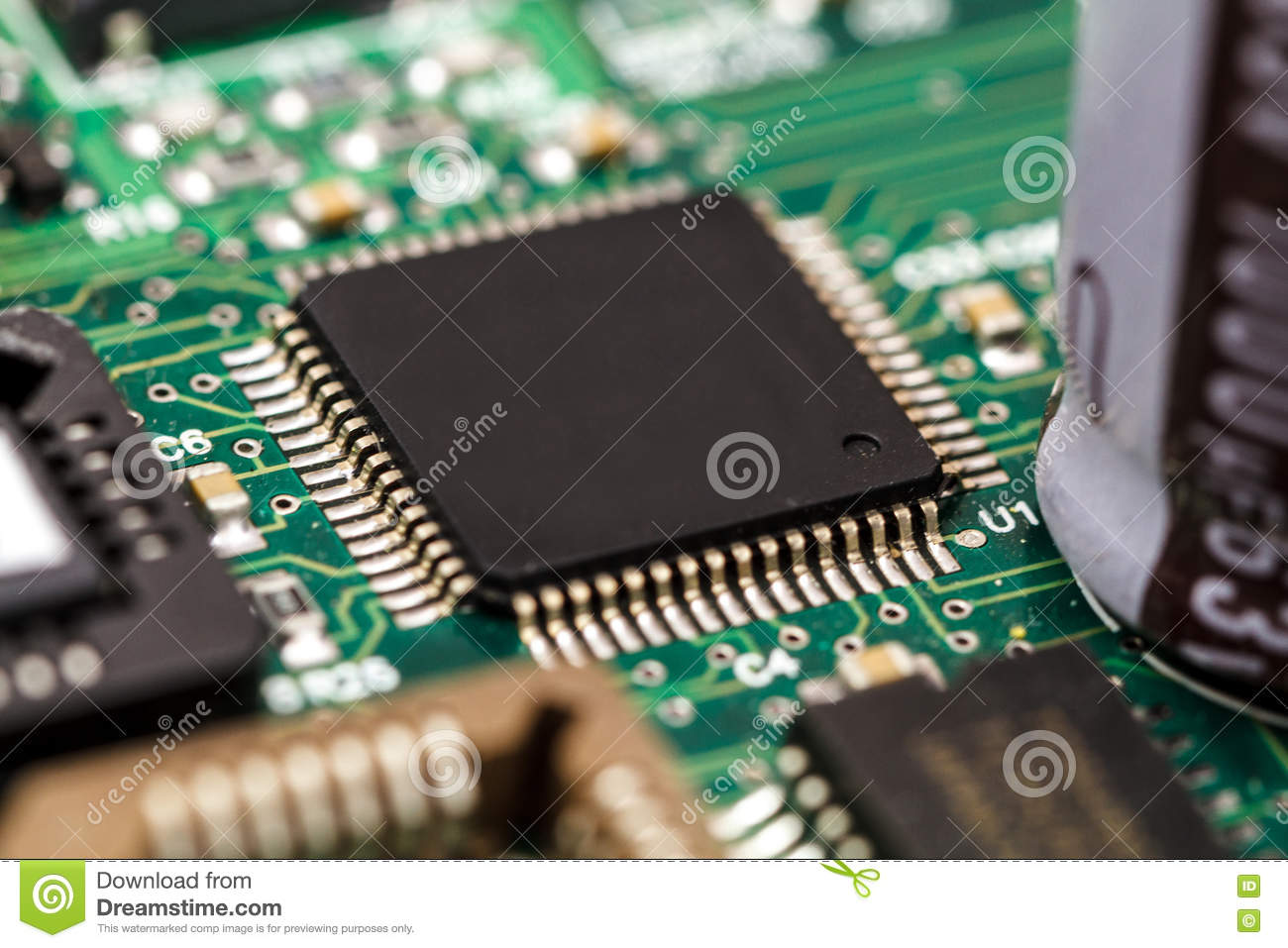 Application Specific Integrated Circuit Stock Image Of Resistors And Capacitors In A Capacitor Ics Chip Mounted On Printed Wiring Board