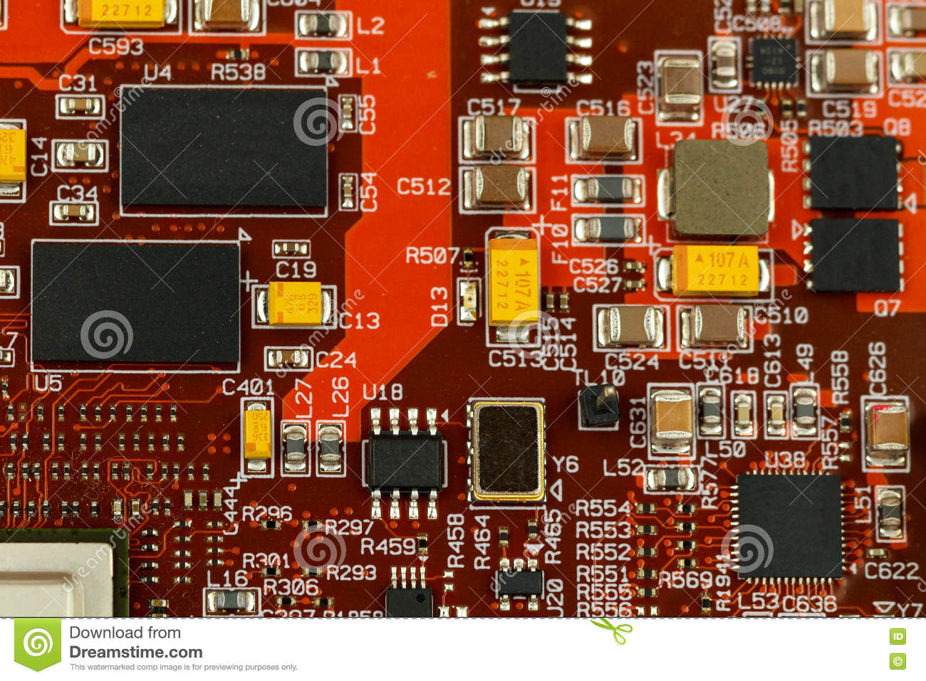 application specific integrated circuit stock image image resistors pcb with ics, chip capacitors, and chip