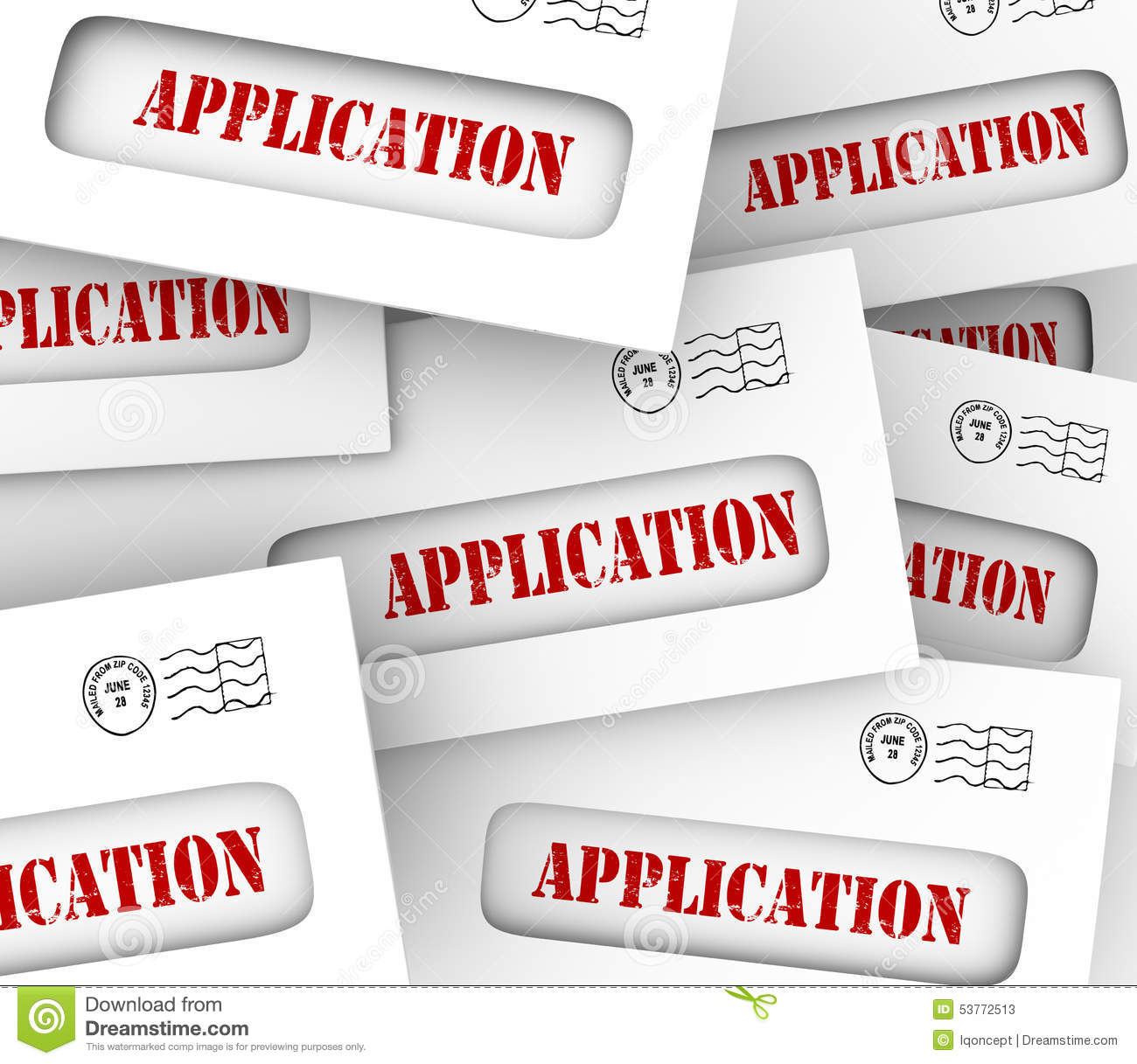 Application Word Envelopes Many Candidates Apply Job Loan