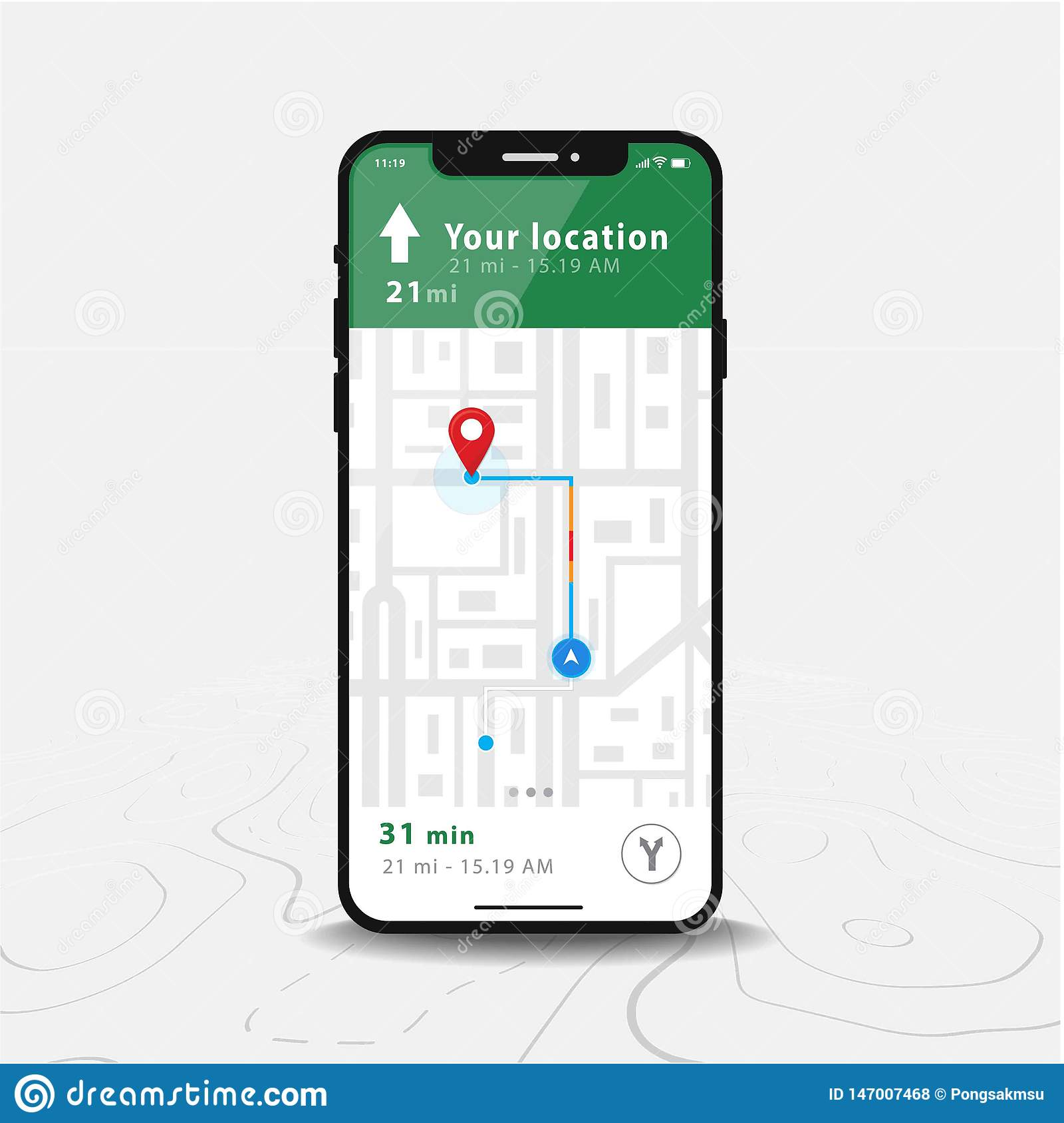 Applicazione della mappa di navigazione, di Smartphone di GPS della mappa e puntiforme rosso sullo schermo