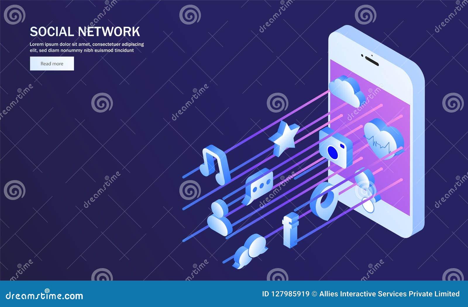Applicazione sociale multipla di media sullo schermo isometrico dello smartphone