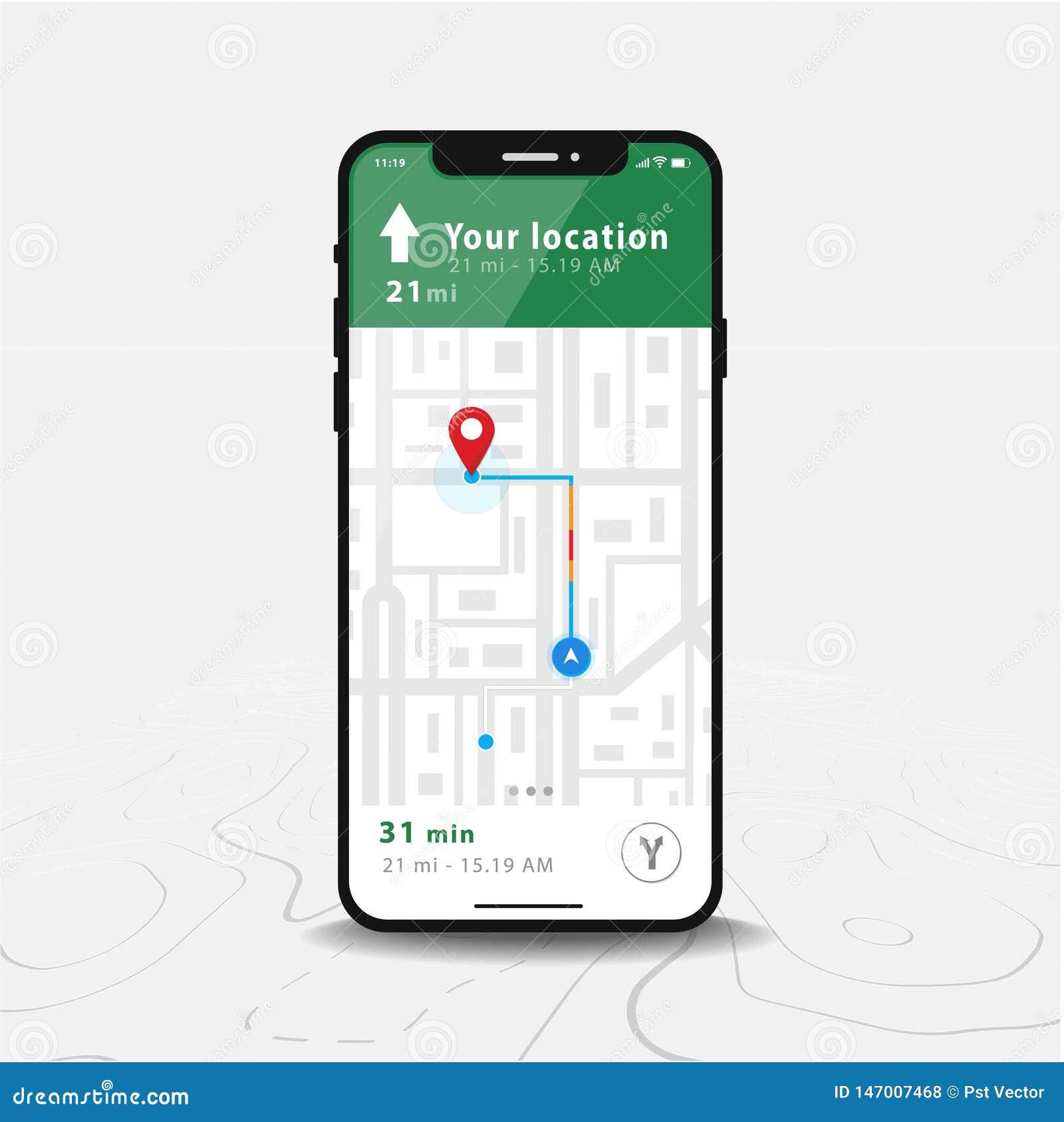 Applikation för översikt för översiktsGPS navigering, Smartphone och röd knappnålsspets på skärmen