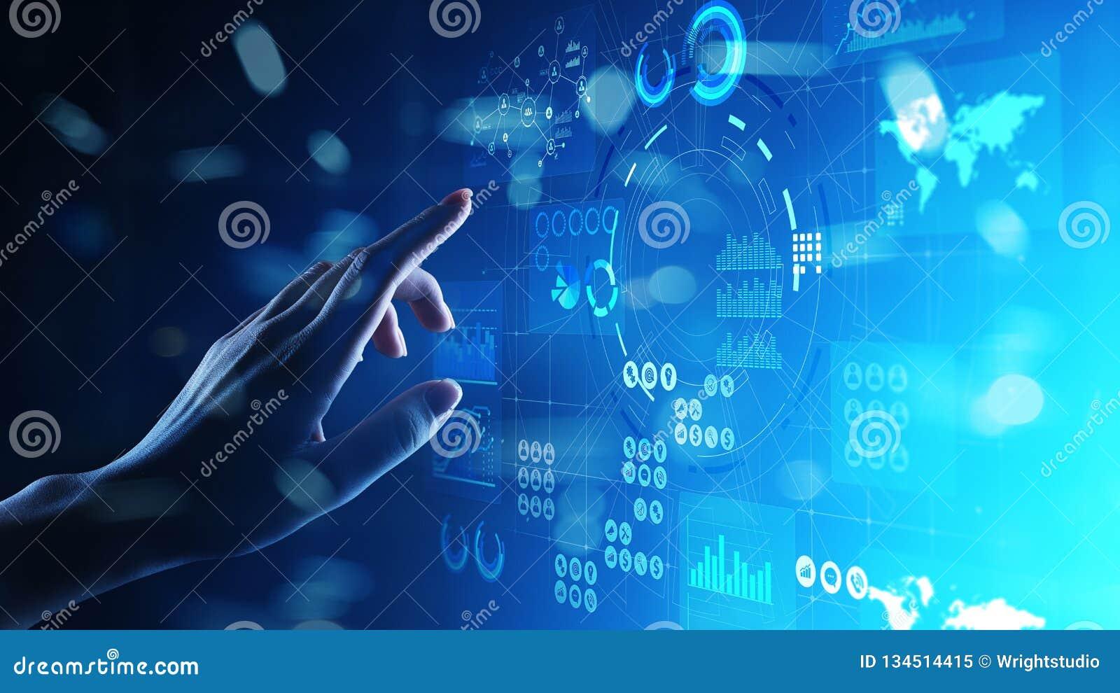 Applikation för investering för handel för strategi för marknadsföring för affärsintelligens på den faktiska skärmen begrepp isol