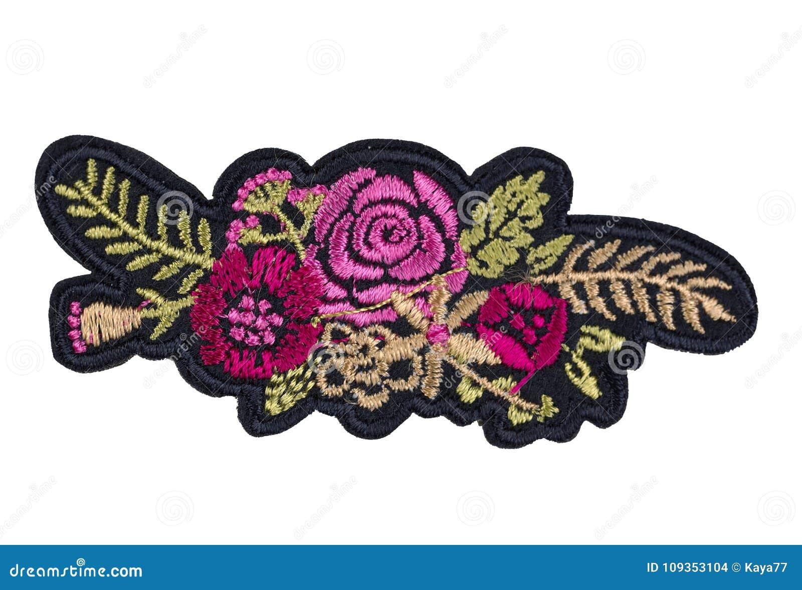 Applique su tessuto fiori isolato fotografia stock immagine di