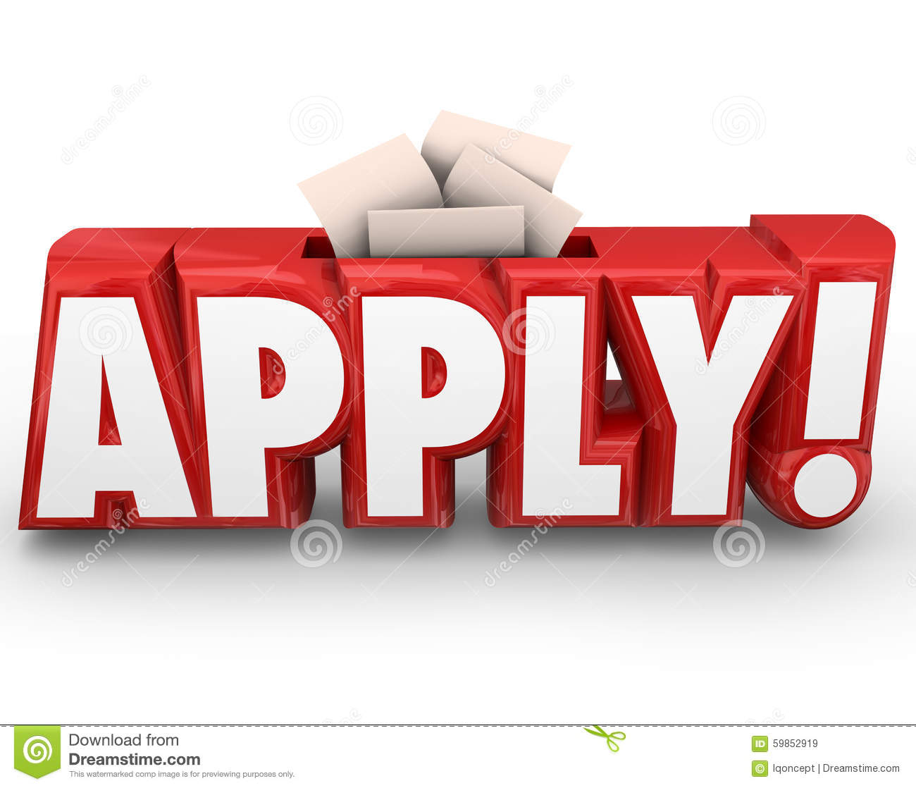 apply 3d word submit application send in your documents stock illustration