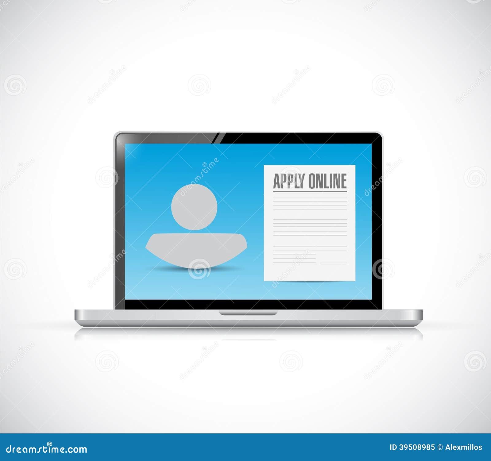 Apply online computer concept. illustration design