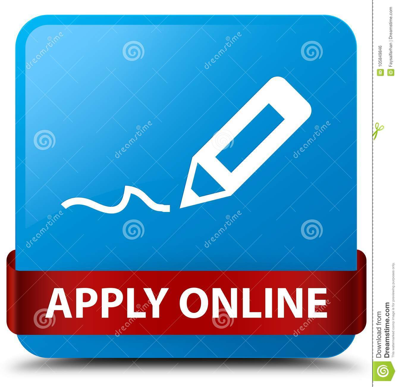 Apply Online Edit Pen Icon Cyan Blue Square Button Red