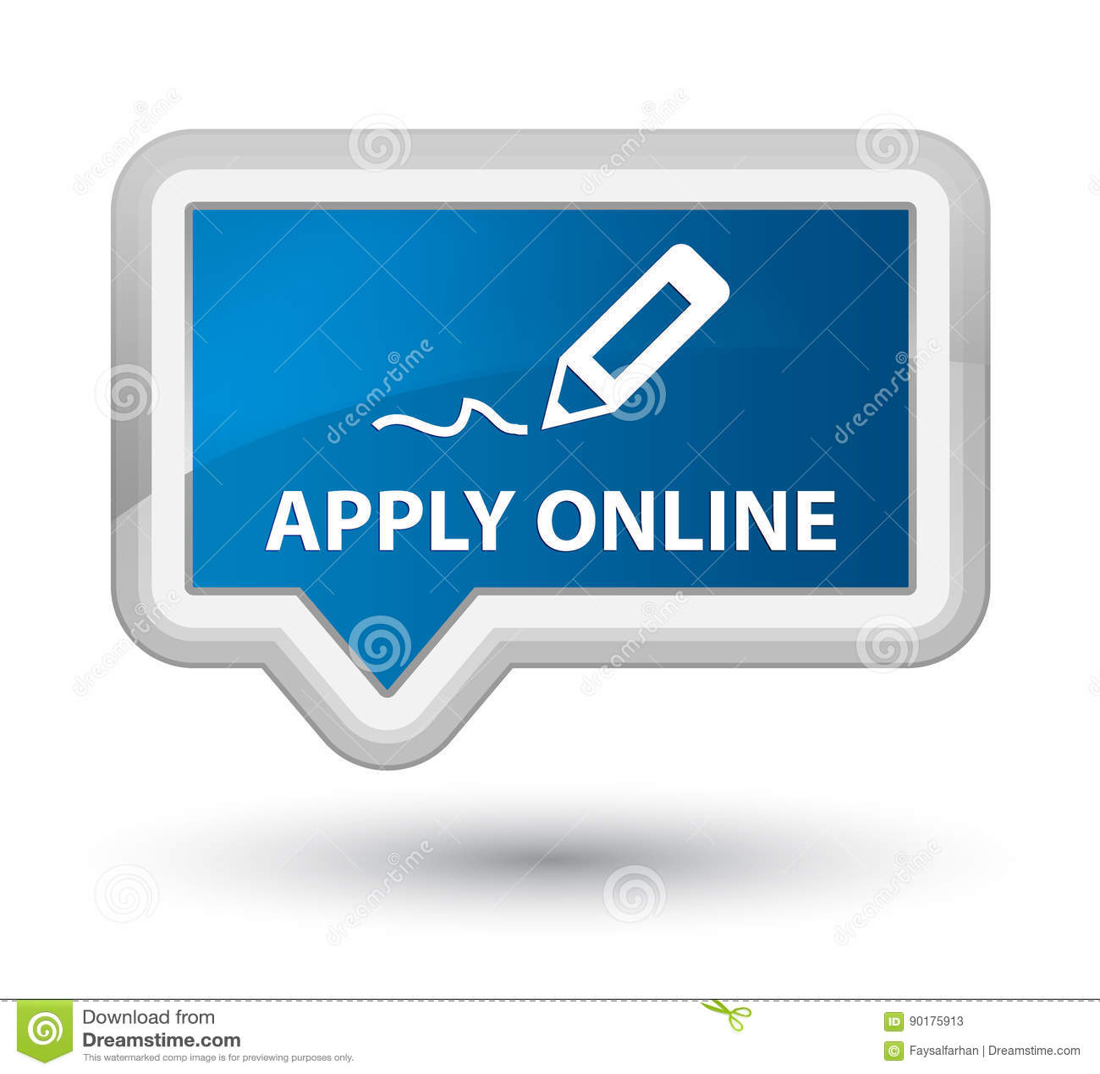 Apply Online (edit Pen Icon) Prime Blue Banner Button Stock ...