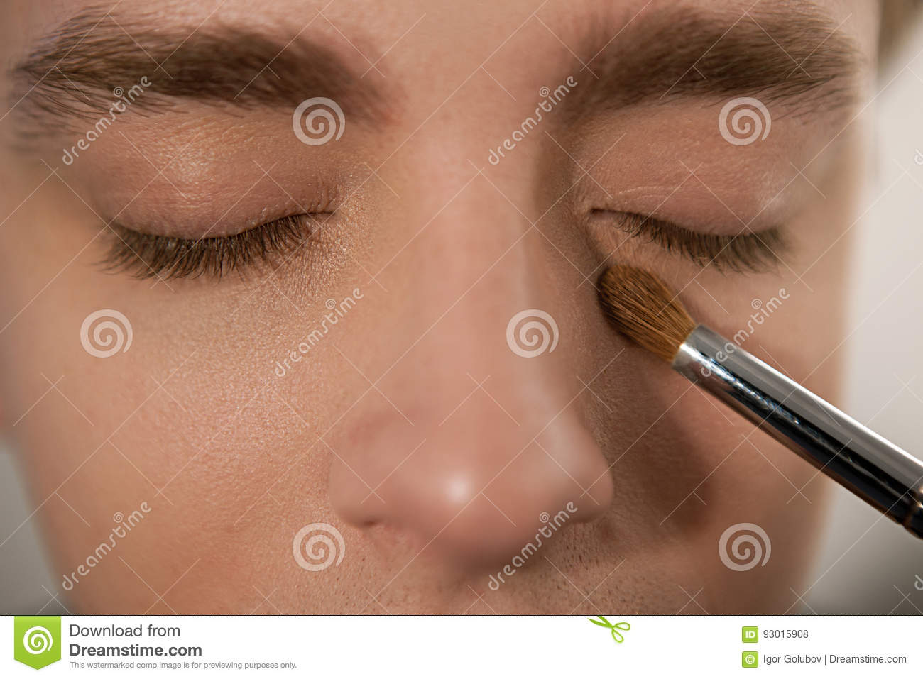 Applying Concealer On Man To Cover Dark Circles Stock Photo Image