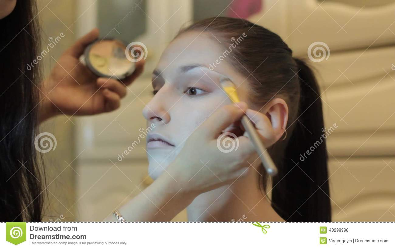 Applying foundation cream stock footage  Video of cover - 48298998