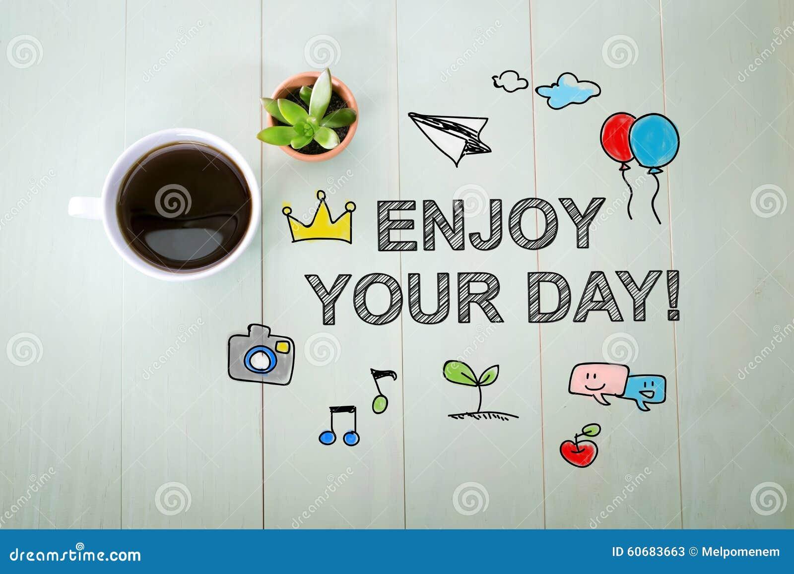 Appréciez votre message de jour avec une tasse de café