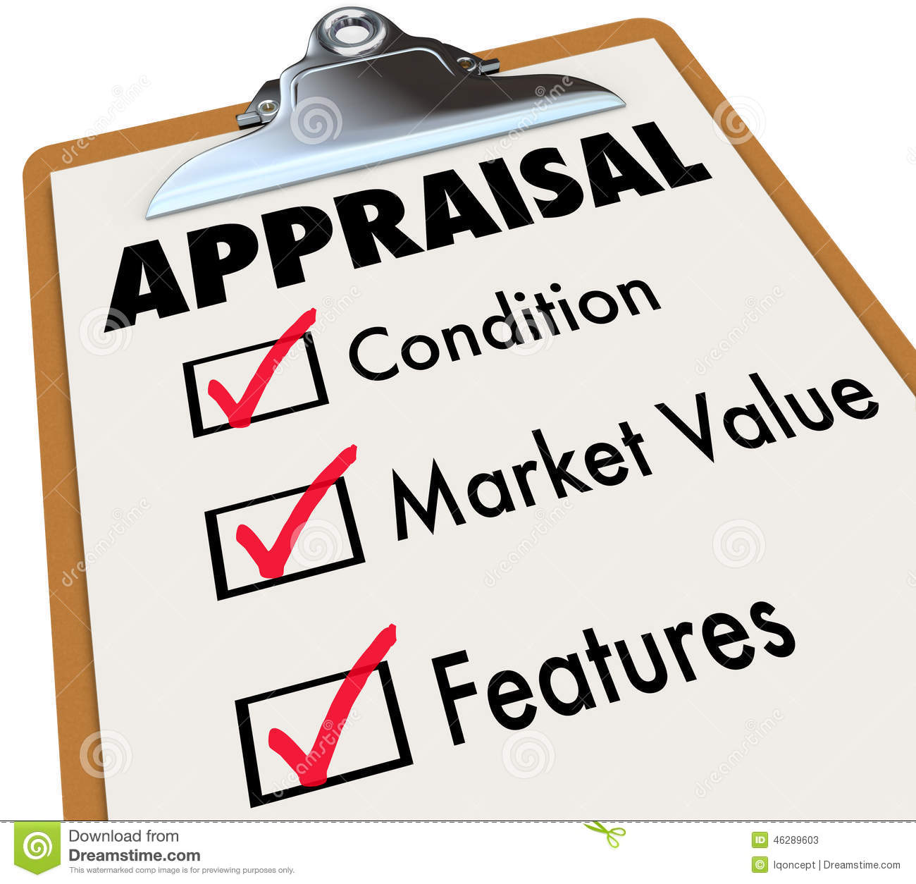 Appraisal Words Checklist Clipboard Factors Condition Market Val