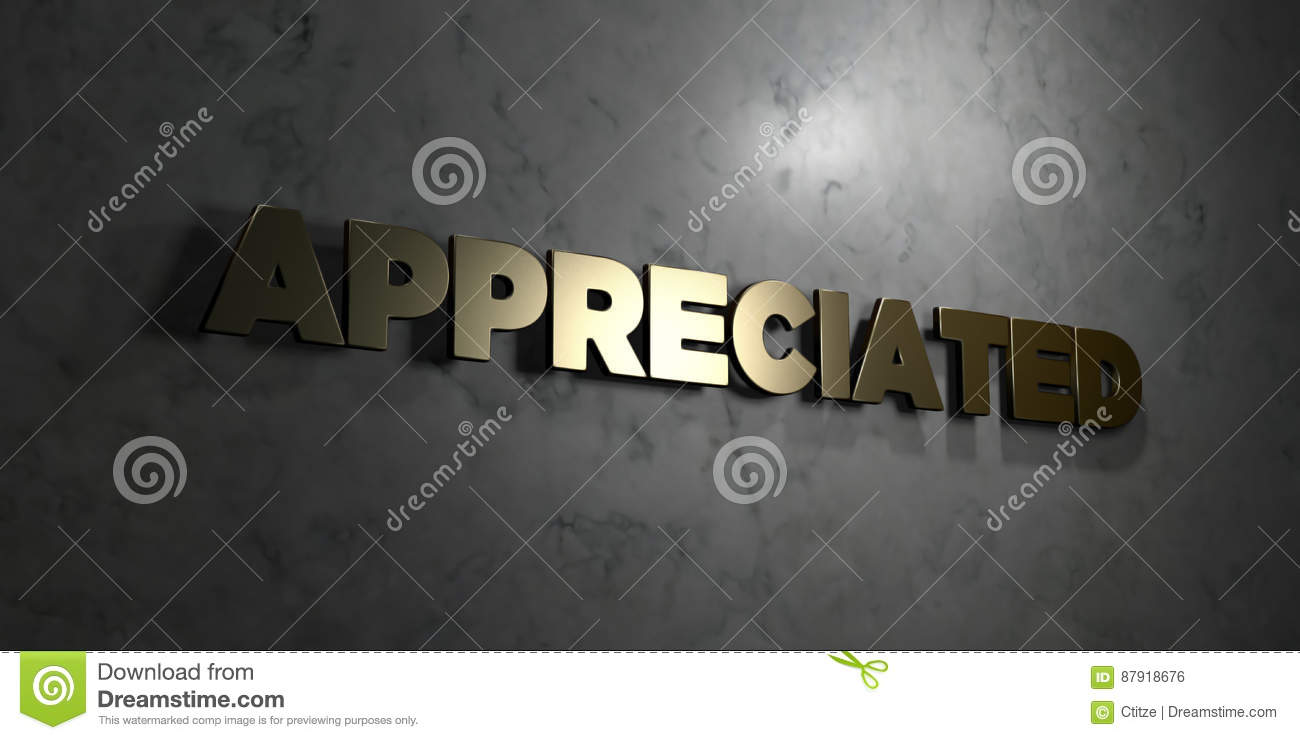 Appreciated - Gold text on black background - 3D rendered royalty free stock picture