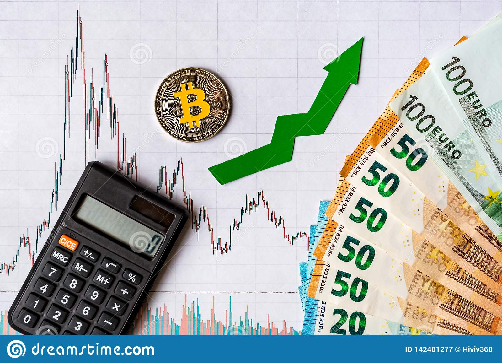 Appreciation of virtual money bitcoin. Green arrow and silver Bitcoin on paper forex chart index rating go up exchange market