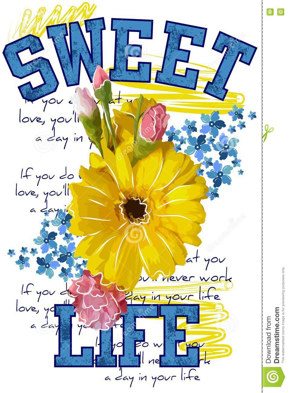 Apprel T Shirtquotes Sweet Lifeautiful Colors Flower Isolated On