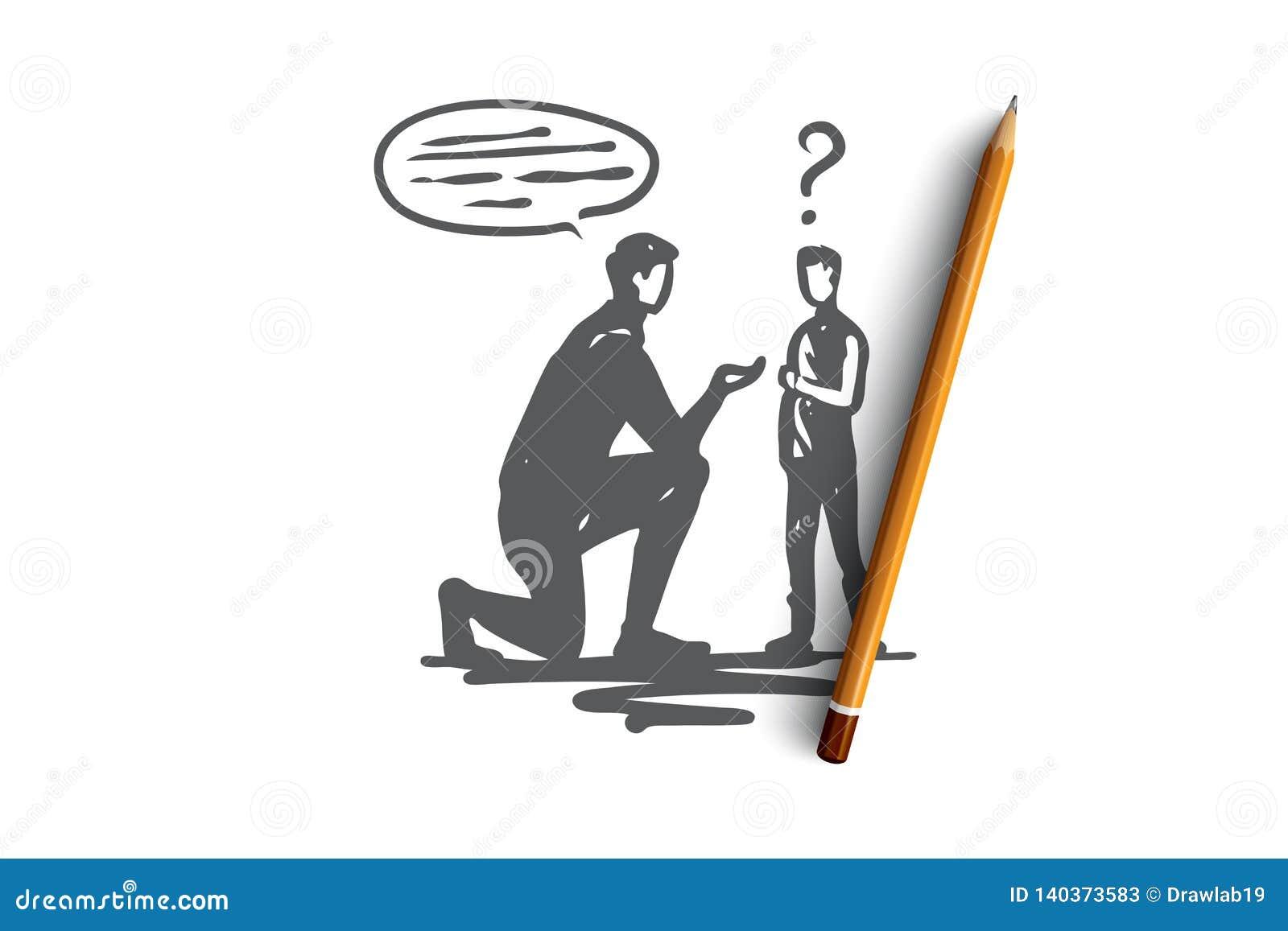 Apprenant, incapacité, garçon, santé, concept d éducation Vecteur d isolement tiré par la main