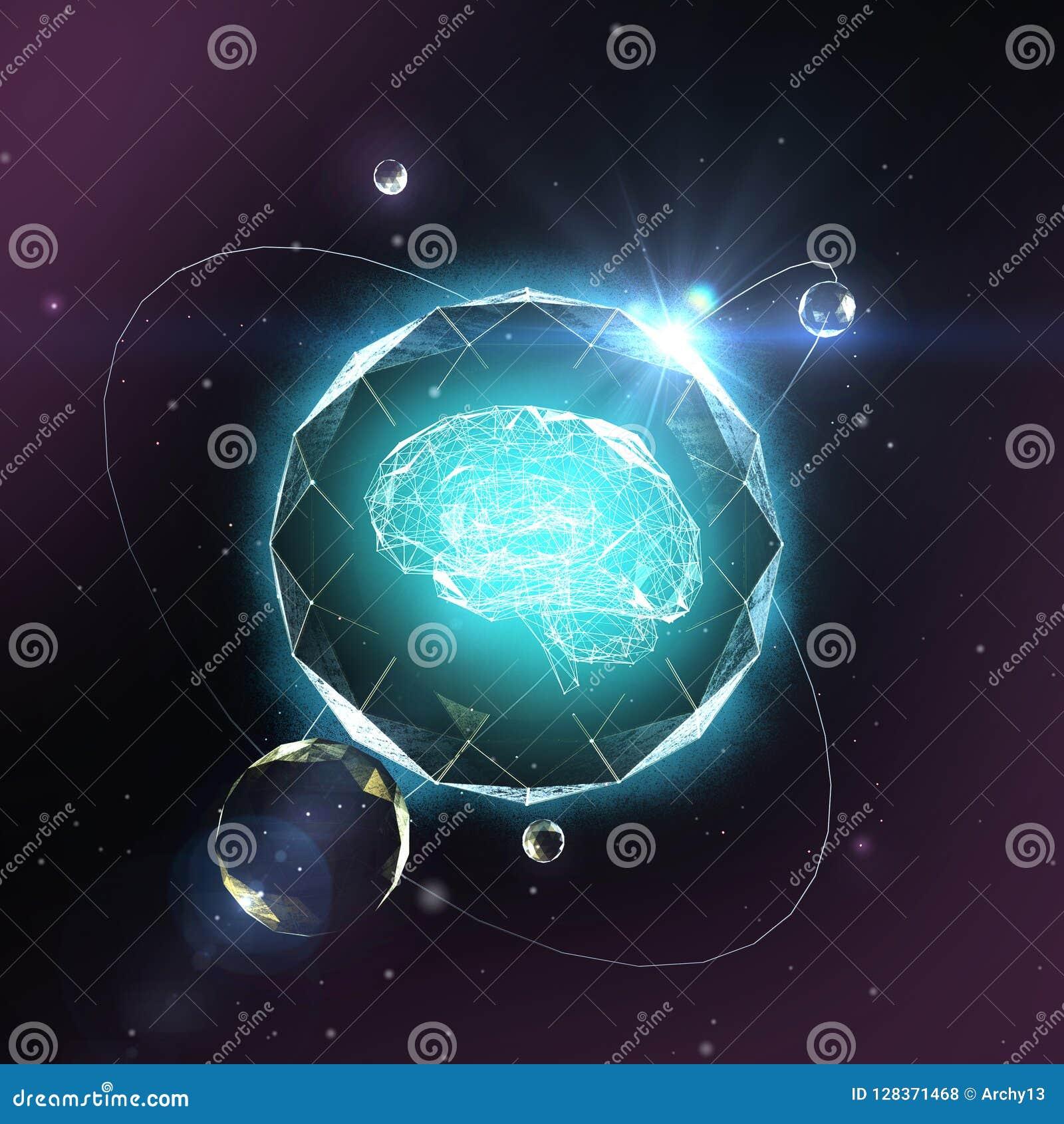 Apprentissage automatique, intelligence artificielle, AI, concept de étude profond de réseau neurologique de blockchain Cerveau f