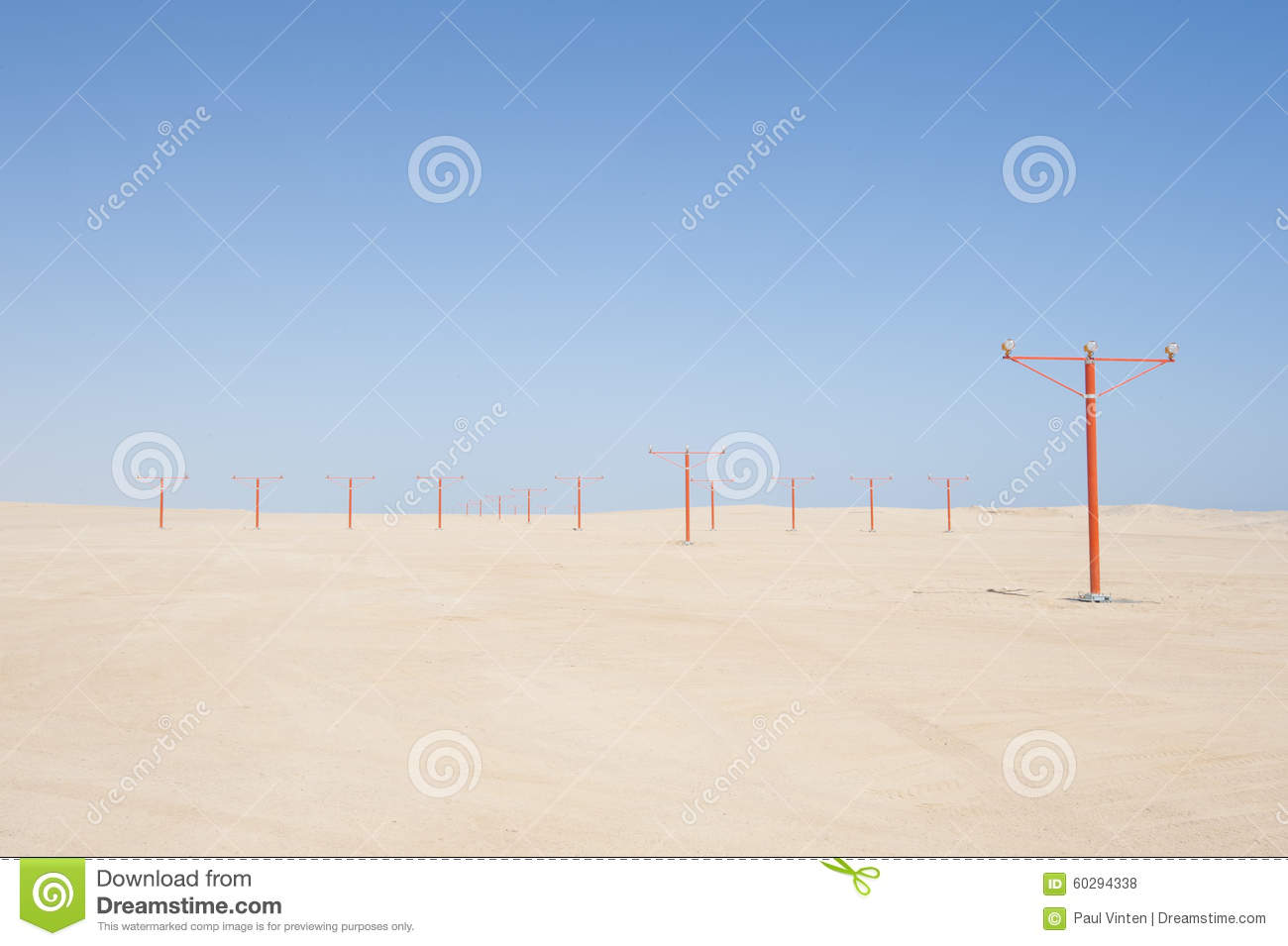 Approach Lights At An Airport Runway Stock Photo - Image of