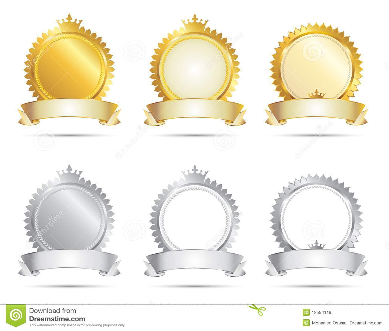 Approval Seal Gold Amp Silver Set Royalty Free Stock Images