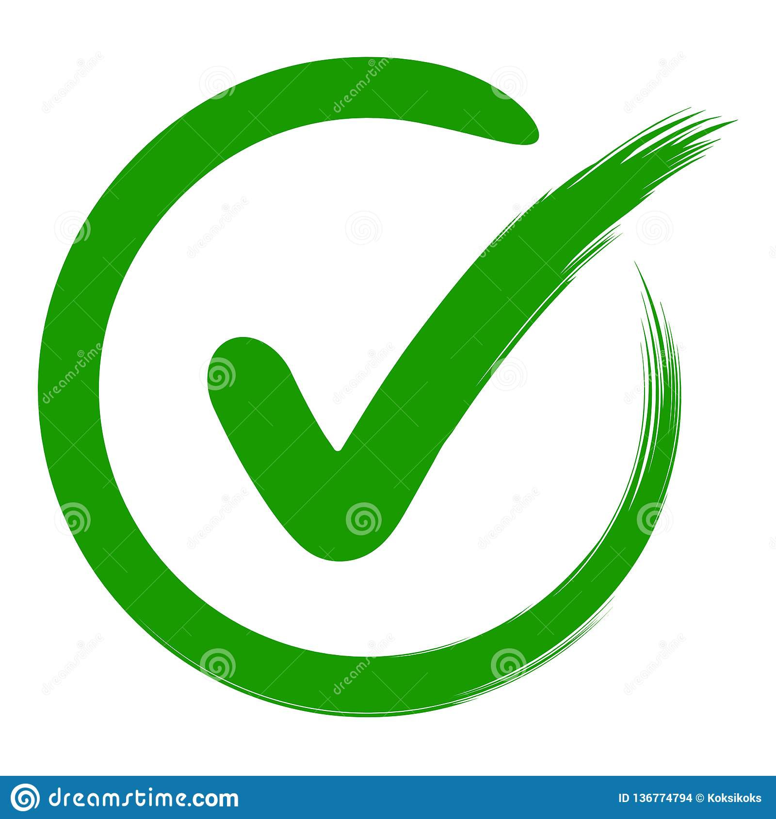 Approval symbol check mark in a circle, drawn hand, vector green sign OK approval or development checklist. personal choice mark
