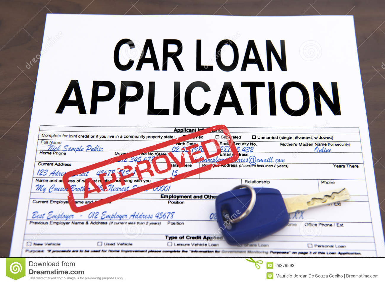 approved car loan application form 28379993