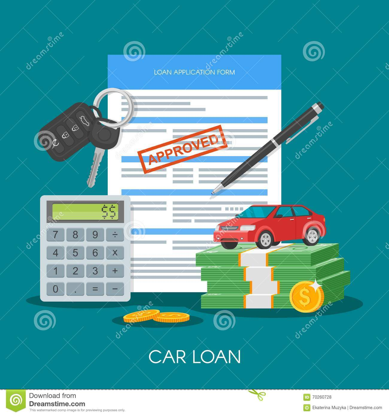 Approved car loan vector illustration Buying car concept Auto keys
