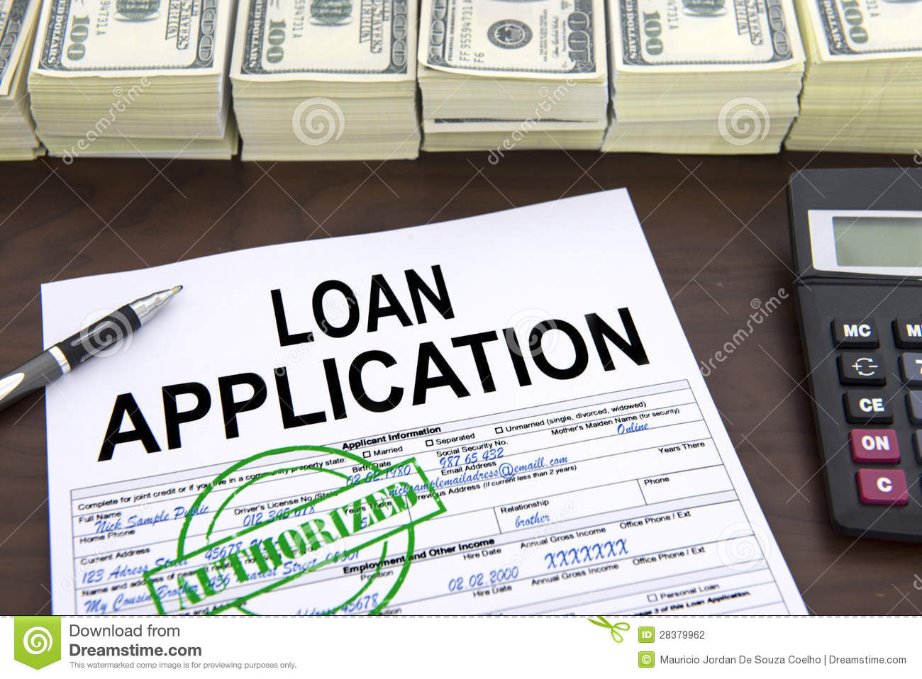 Capital One Auto Loan Payment >> Approved Loan Application Form And Dollar Bills Stock ...