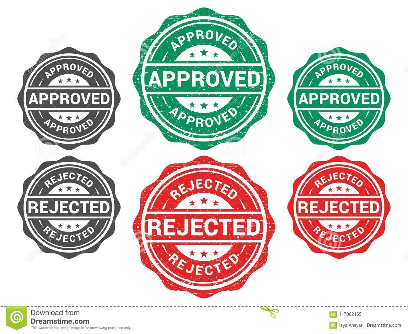 Approved & Rejected Stamp stock vector  Illustration of unique