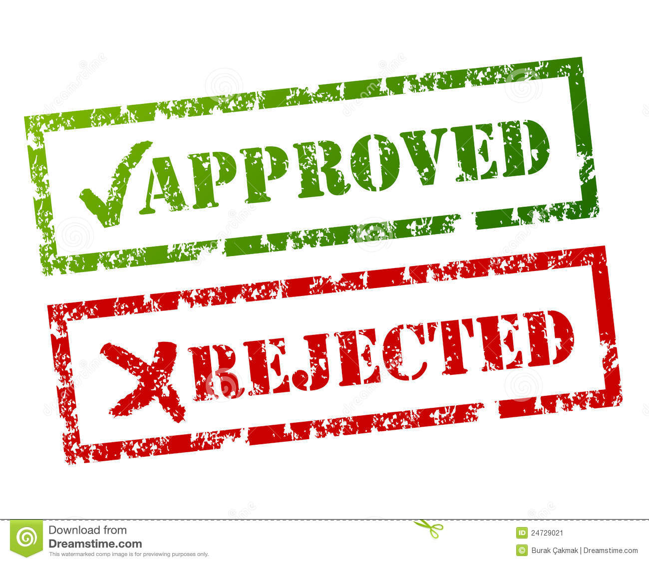 Approved Rejected Sign Stock Vector Image Of Check Cross