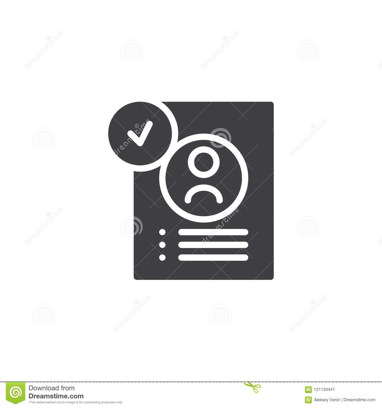 Approved Resume Vector Icon Stock Vector - Illustration of approve ...