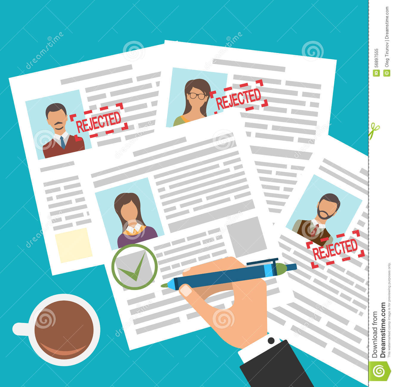 approved candidate resume cartoon vector
