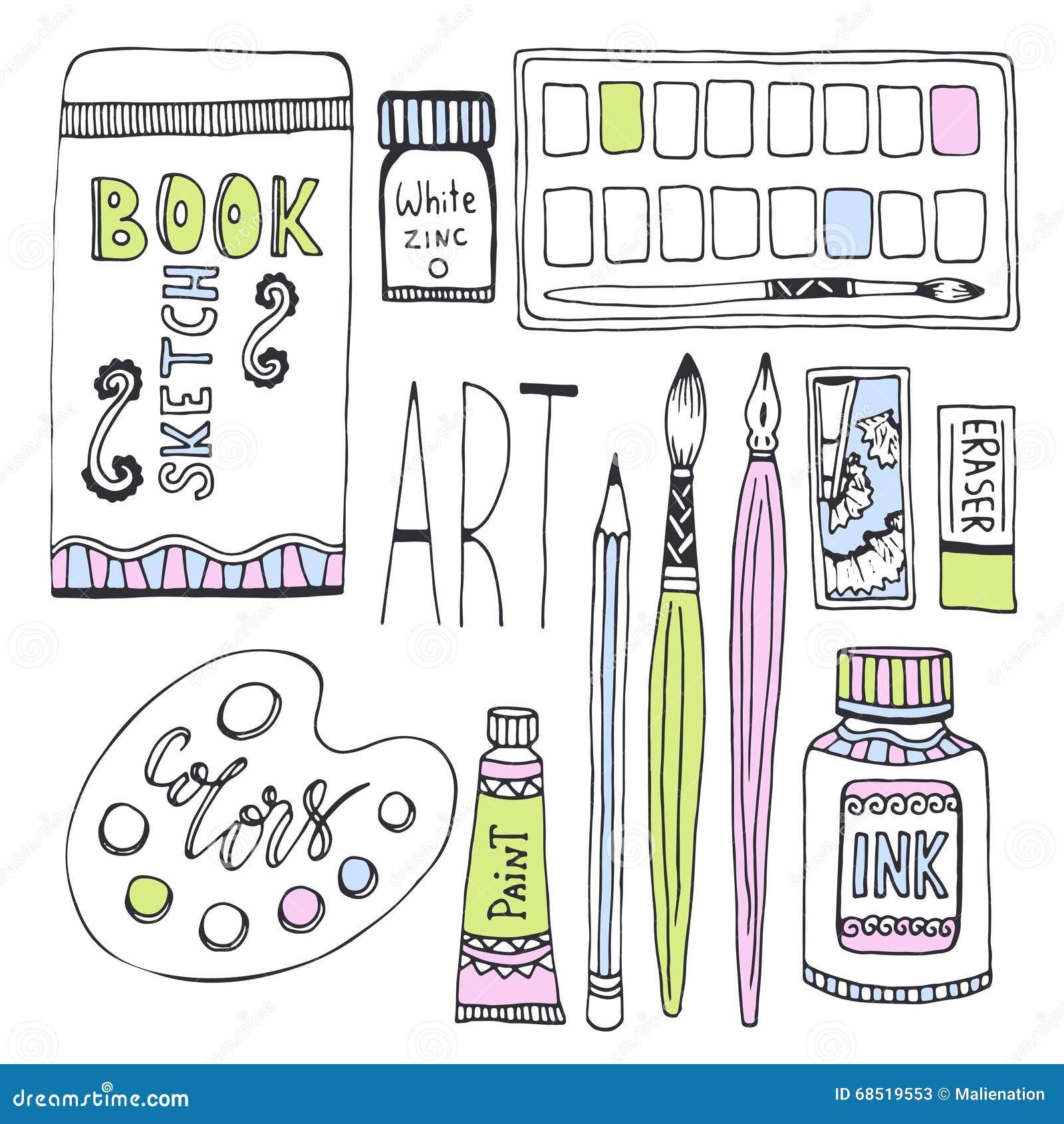 Approvisionnements d art pour le dessin Les croquis dirigent l ensemble avec les peintures, la palette, le carnet à dessins et d
