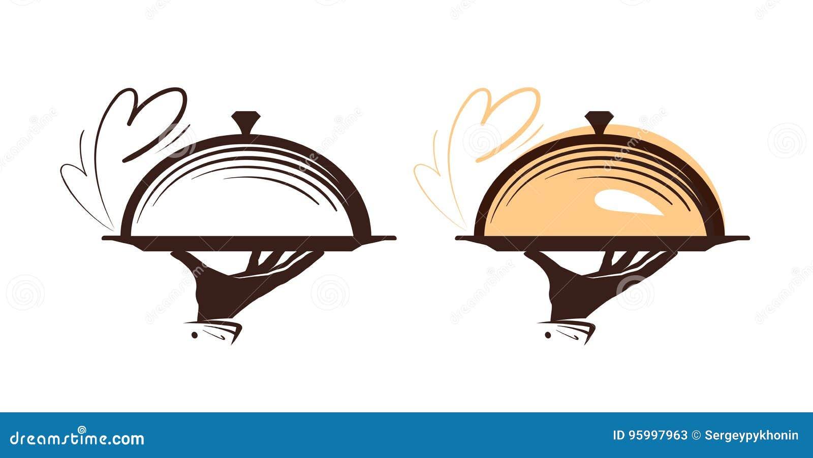 Approvvigionamento, logo della campana di vetro Icona per il ristorante o il caffè del menu di progettazione Illustrazione di vet