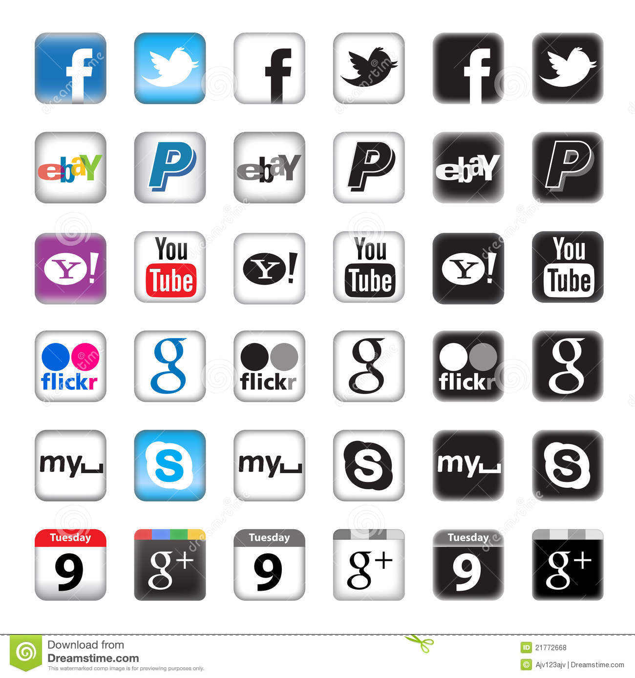 Editorial stock photo apps buttons for social networking