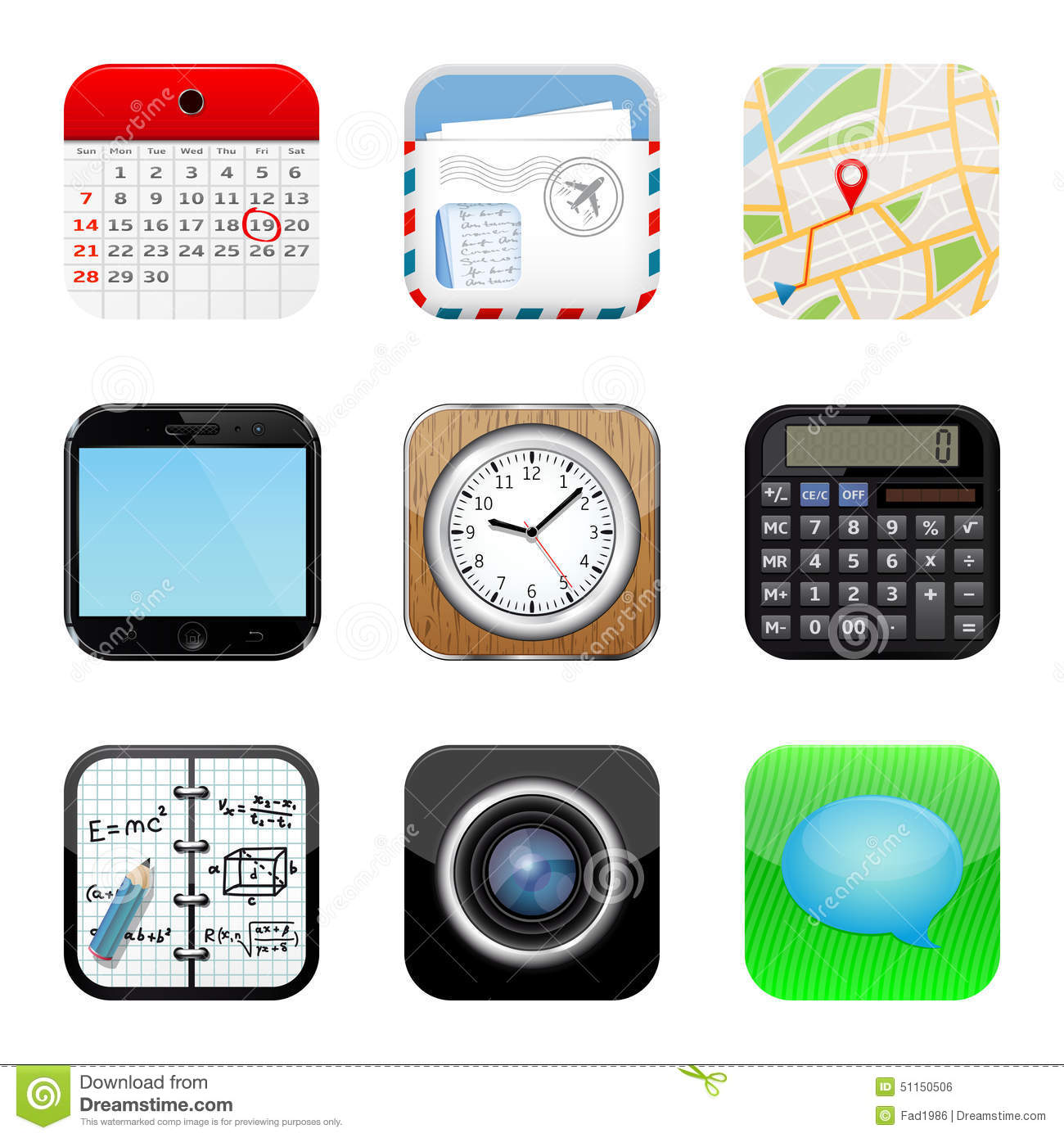 Apps icon set stock vector. Illustration of frame, clipboard - 51150506
