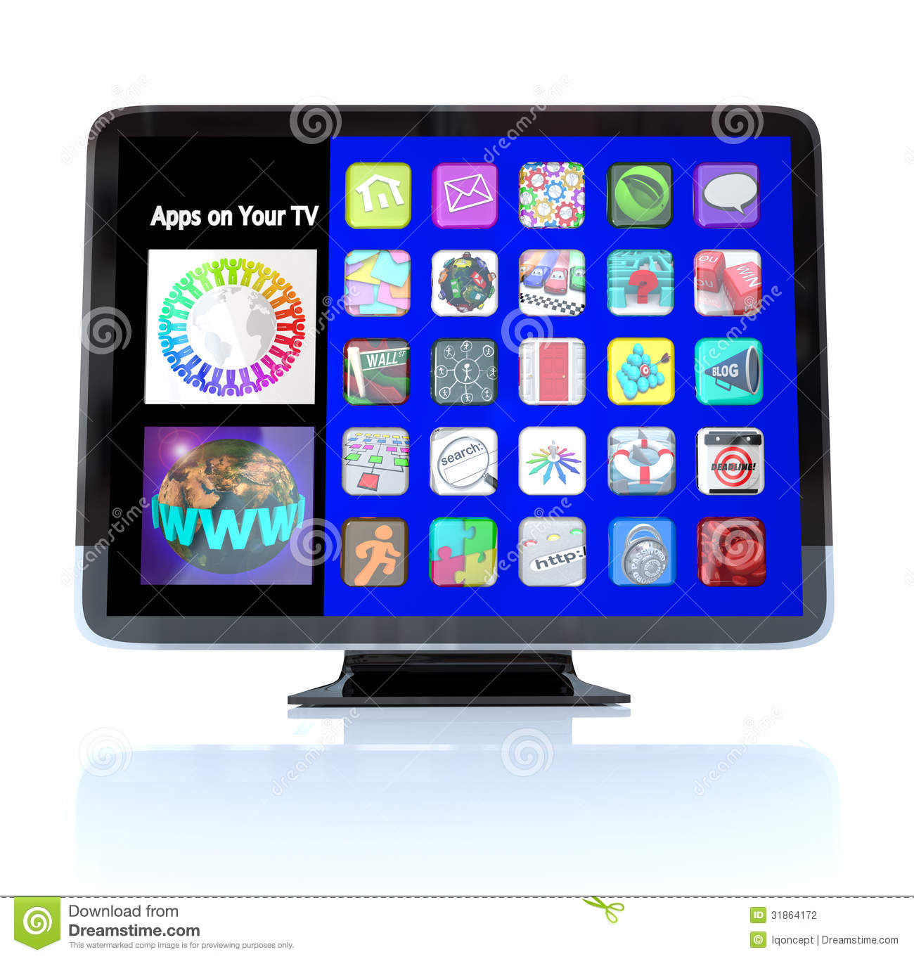 Apps icon tiles on high definition television hdtv stock for Tile planner app