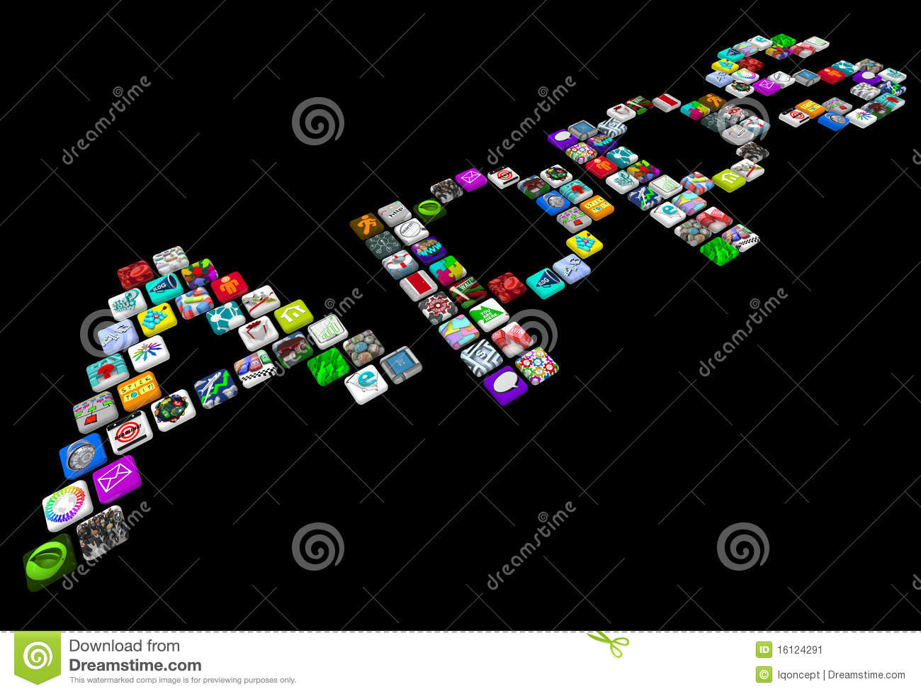 Apps many tile icons of smart phone applications stock for Tile layout app