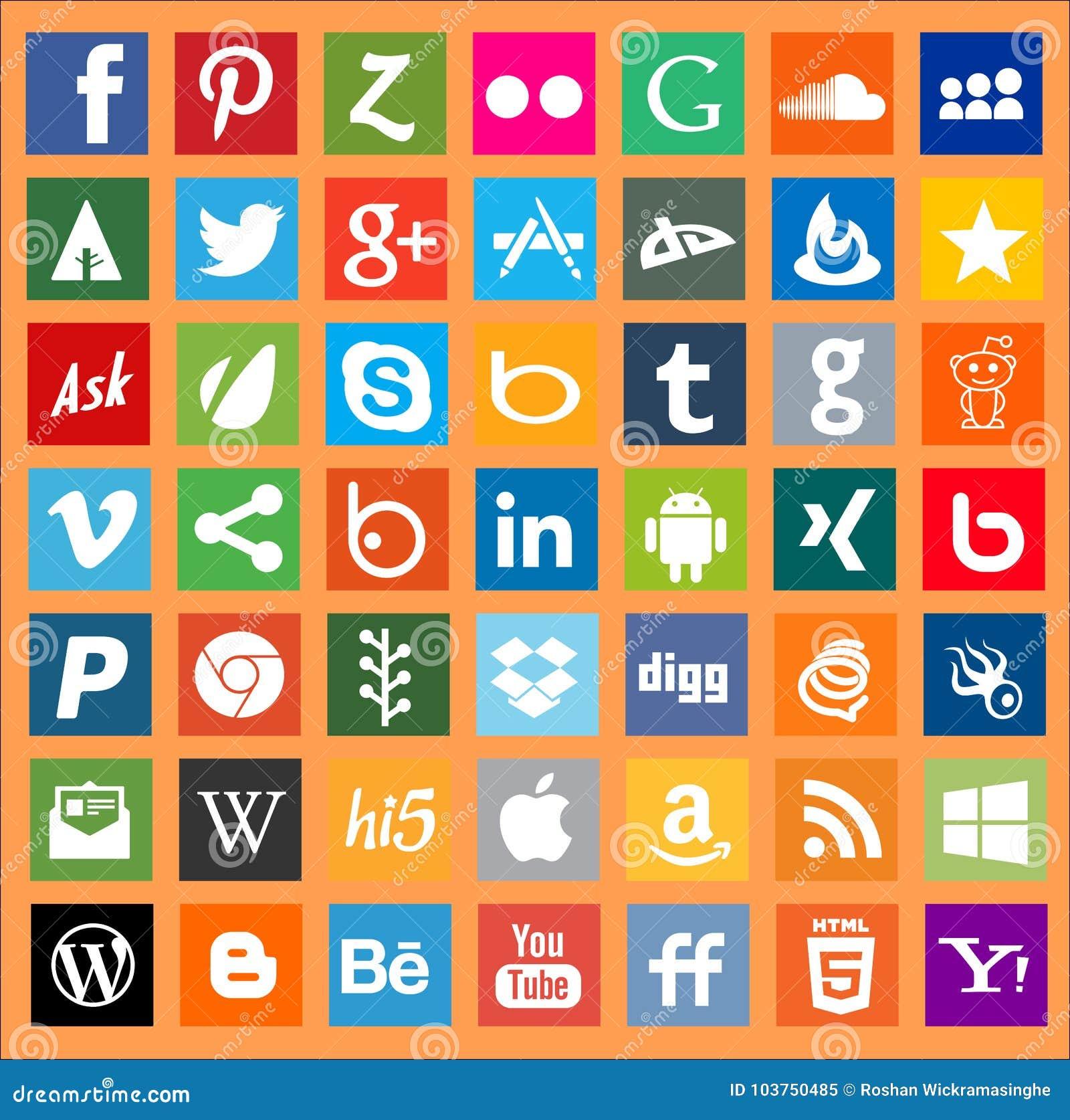 Apps networking loga ogólnospołeczni medialni znaki