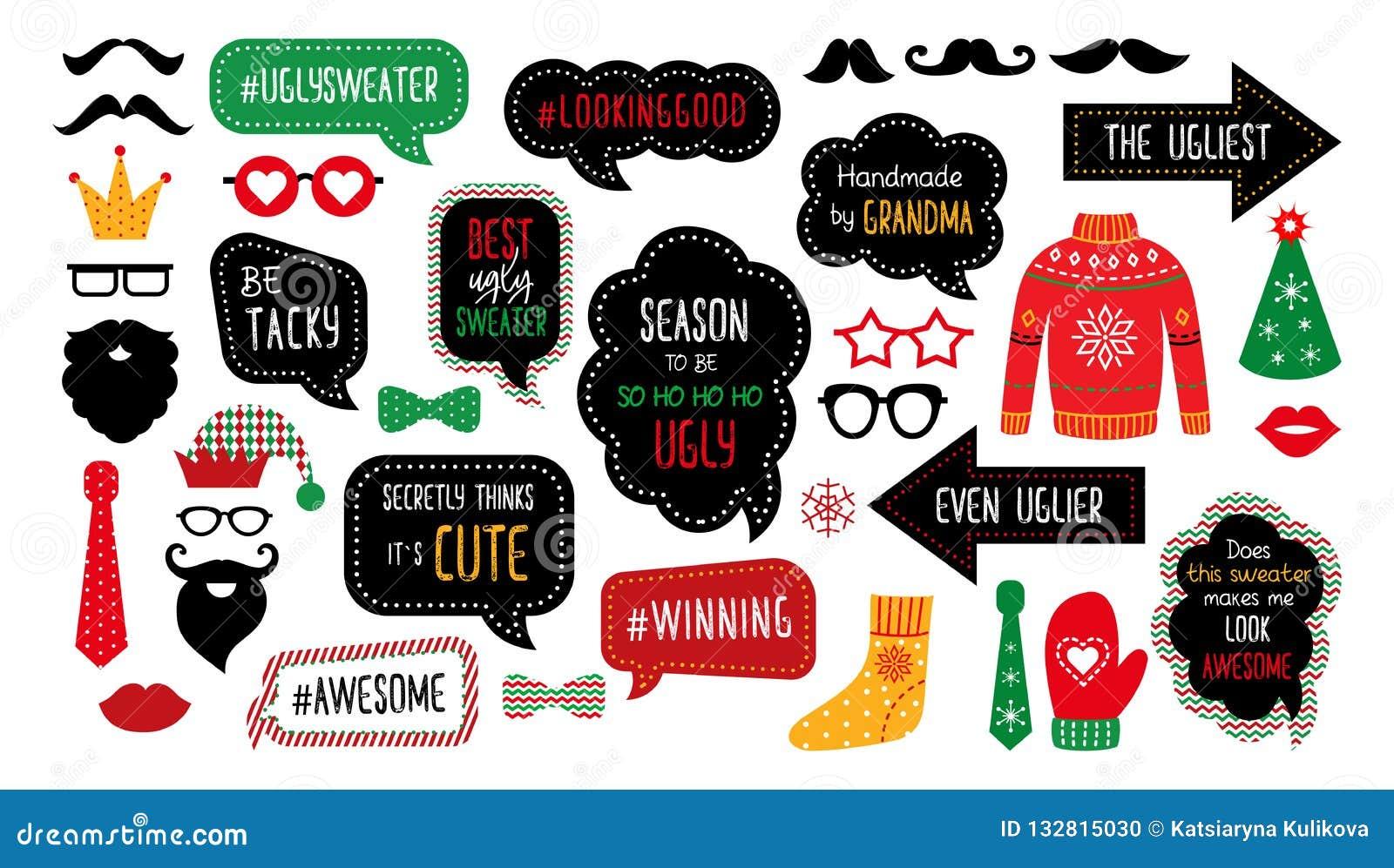 Appui verticaux tasky laids de cabine de photo de partie de chandail de Noël