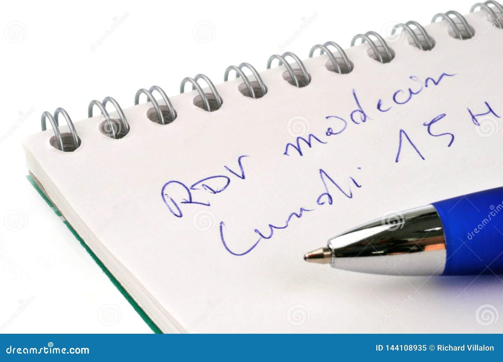 Appuntamento al medico scritto in francese