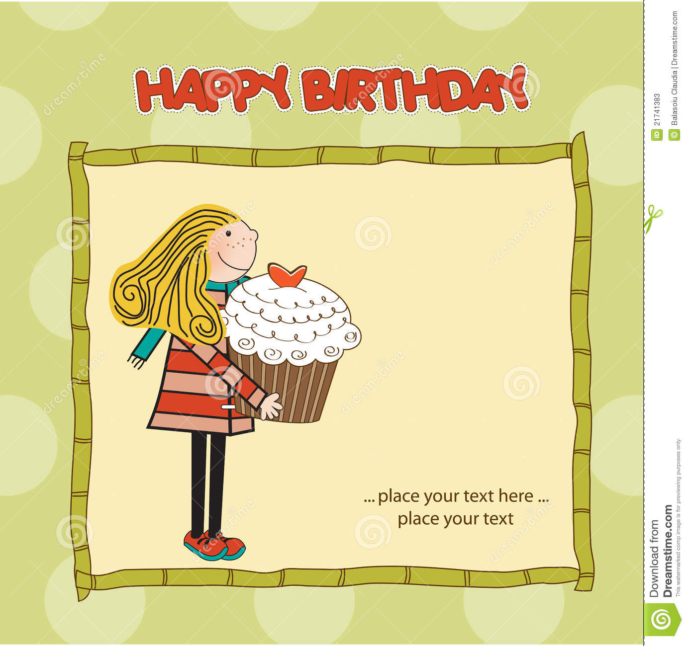 Appy Birthday Card With Cute Girl And Cupcake Stock Photos Image 21741383