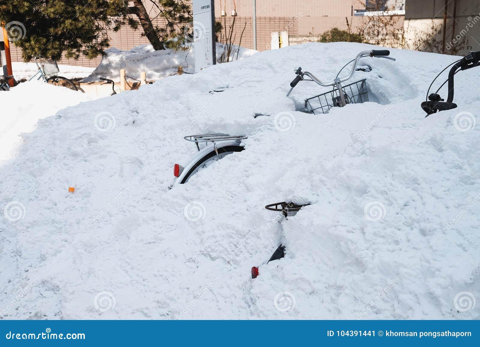 Après neige tombe à Sapporo fortement pendant plusieurs jours En conséquence des routes sont fermées à errer Le vélo est couvert