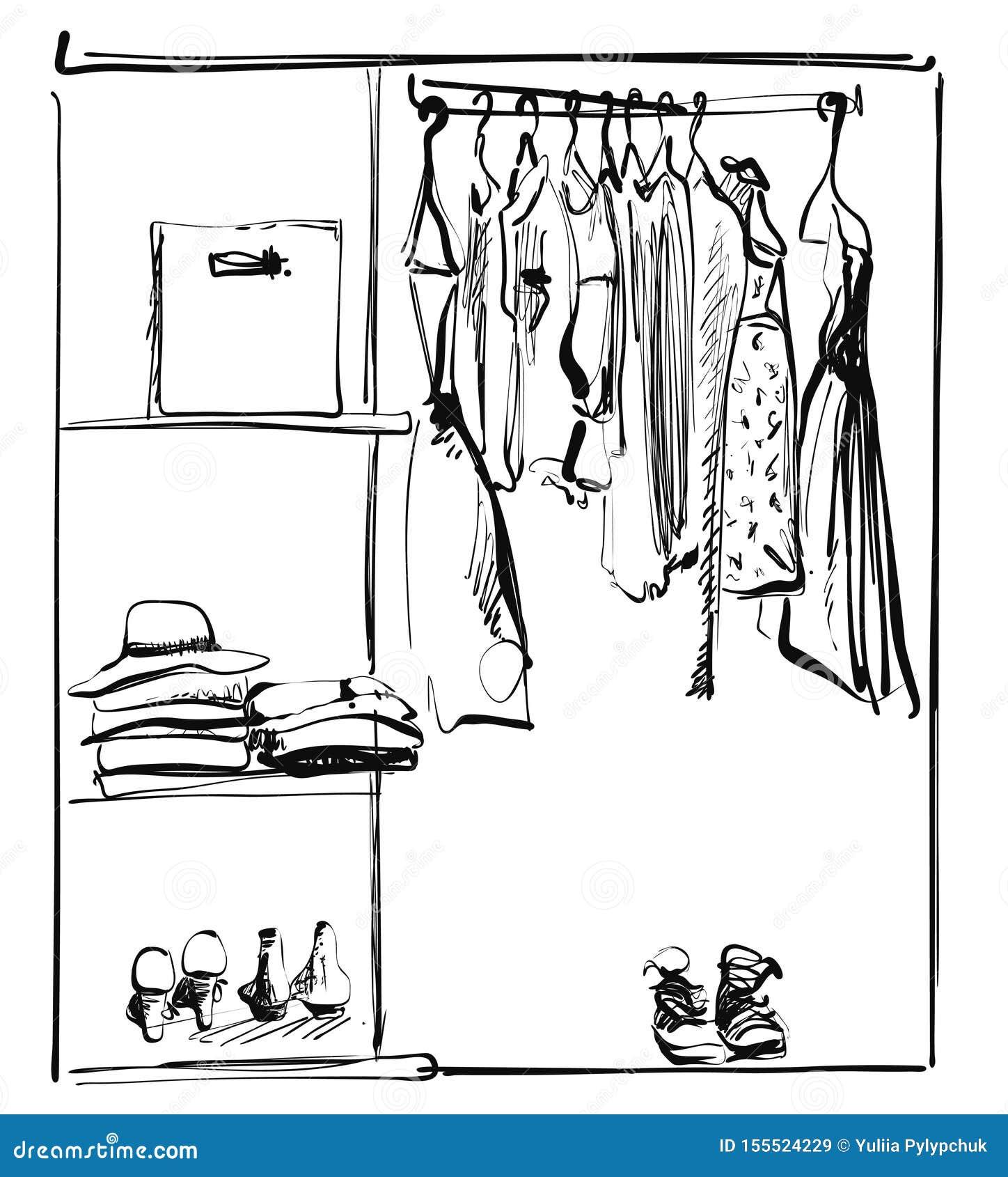 Apra il guardaroba con i vestiti e paga sugli scaffali e sui ganci Illustrazione di vettore di uno stile di schizzo