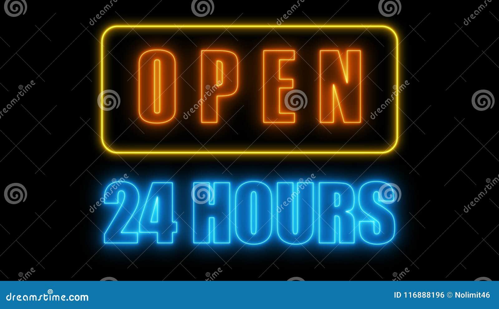 Apra 24-7 l insegna al neon, retro insegna di stile per la barra o il club, 3d rende il fondo generato da computer