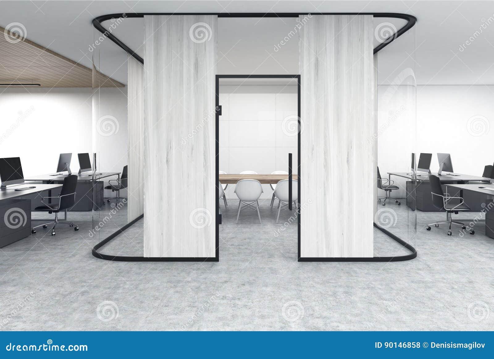 Ufficio Legno Bianco : Apra lufficio con un acquario di legno bianco illustrazione di