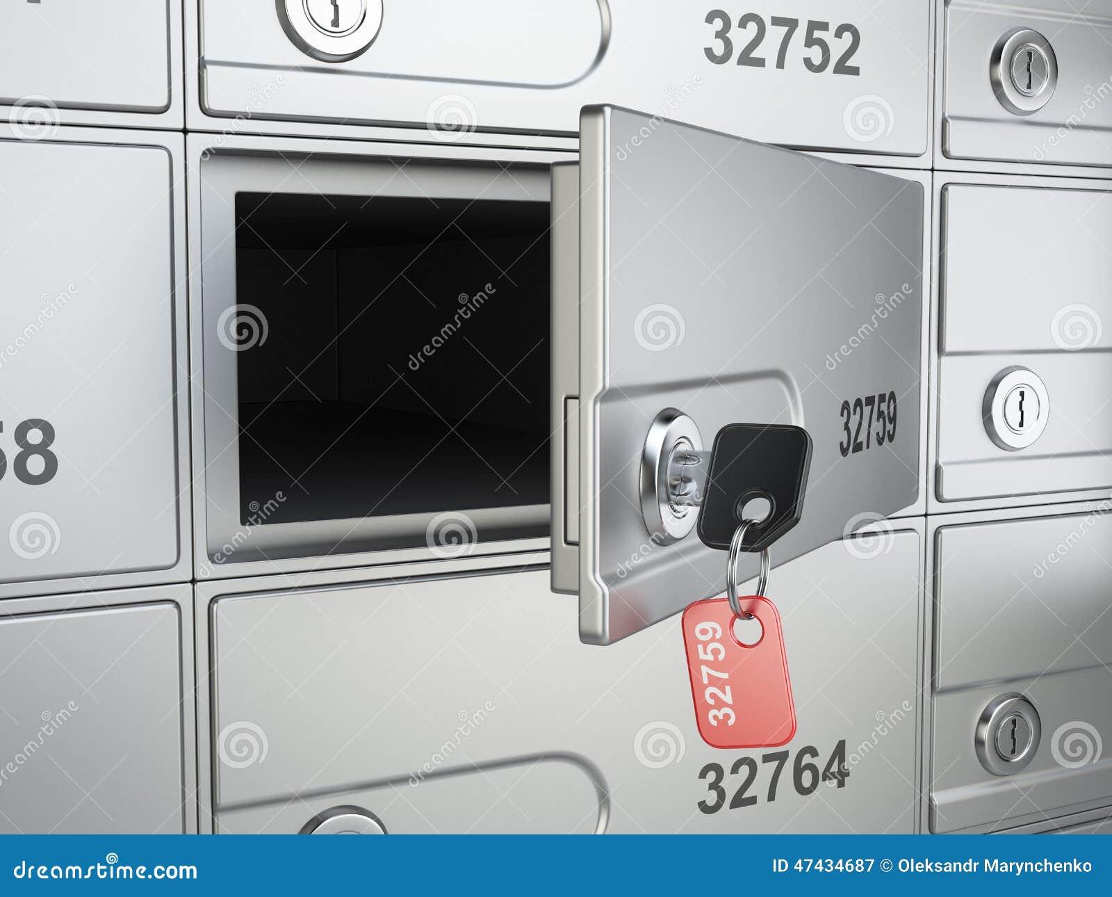 Apra la cellula sicura della banca e chiuda a chiave alla cassaforte