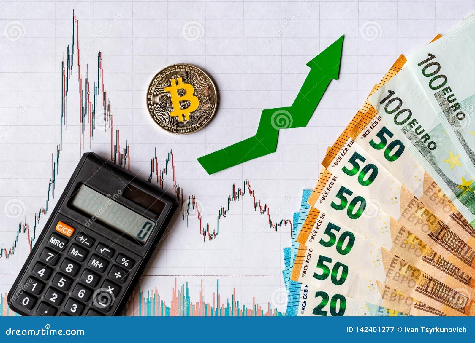 Apreciação do bitcoin virtual do dinheiro A seta verde e Bitcoin de prata na avaliação de papel do índice da carta dos estrangeir